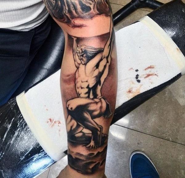 Shaded Mens Muscular Atlas Sleeve Tattoo Ideas