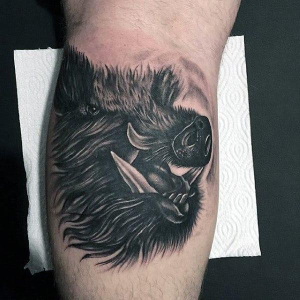 Shaded Mens Realistic Boar Leg Calf Tattoo Ideas