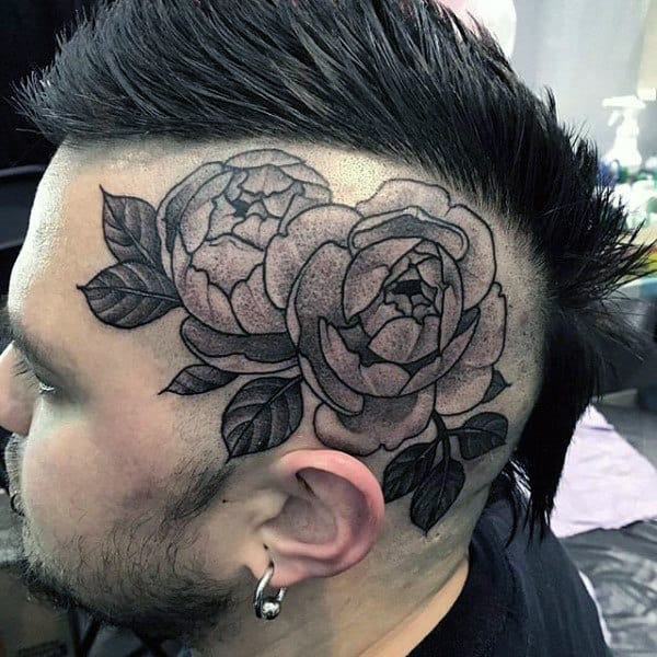 Shaded Mens Rose Flower Head Tattoos