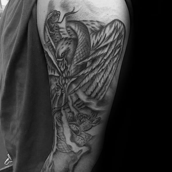 Shaded Mexican Eagle Mens Tattoo Designs On Arms