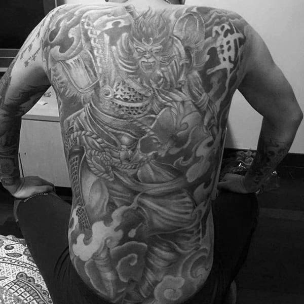 Shaded Monkey King Tattoo On Males Back