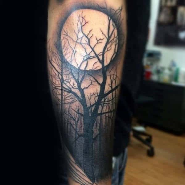 Shaded Moon Tree Sleeve Forest Tattoo On Mans Forearm