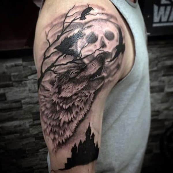 Shaded Moon Wolf Howling Animal Upper Arm Tattoos For Guys