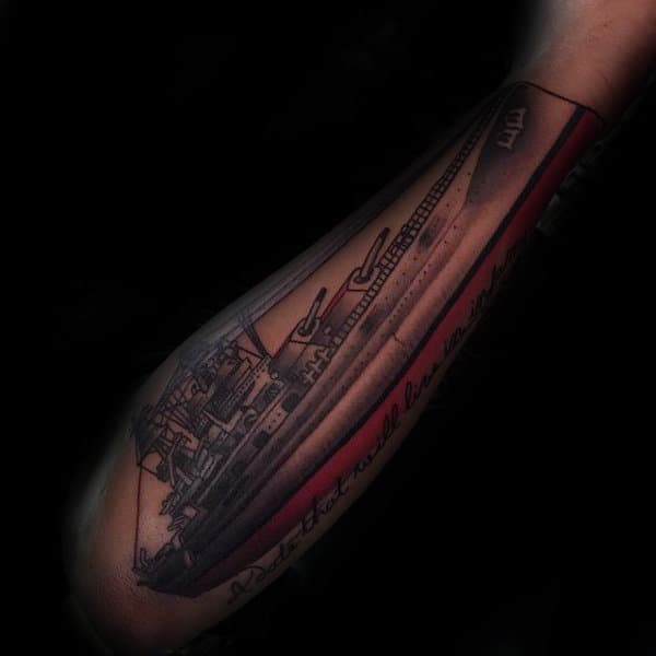 Shaded Navy Ship Tattoos For Guys On Outer Forearm