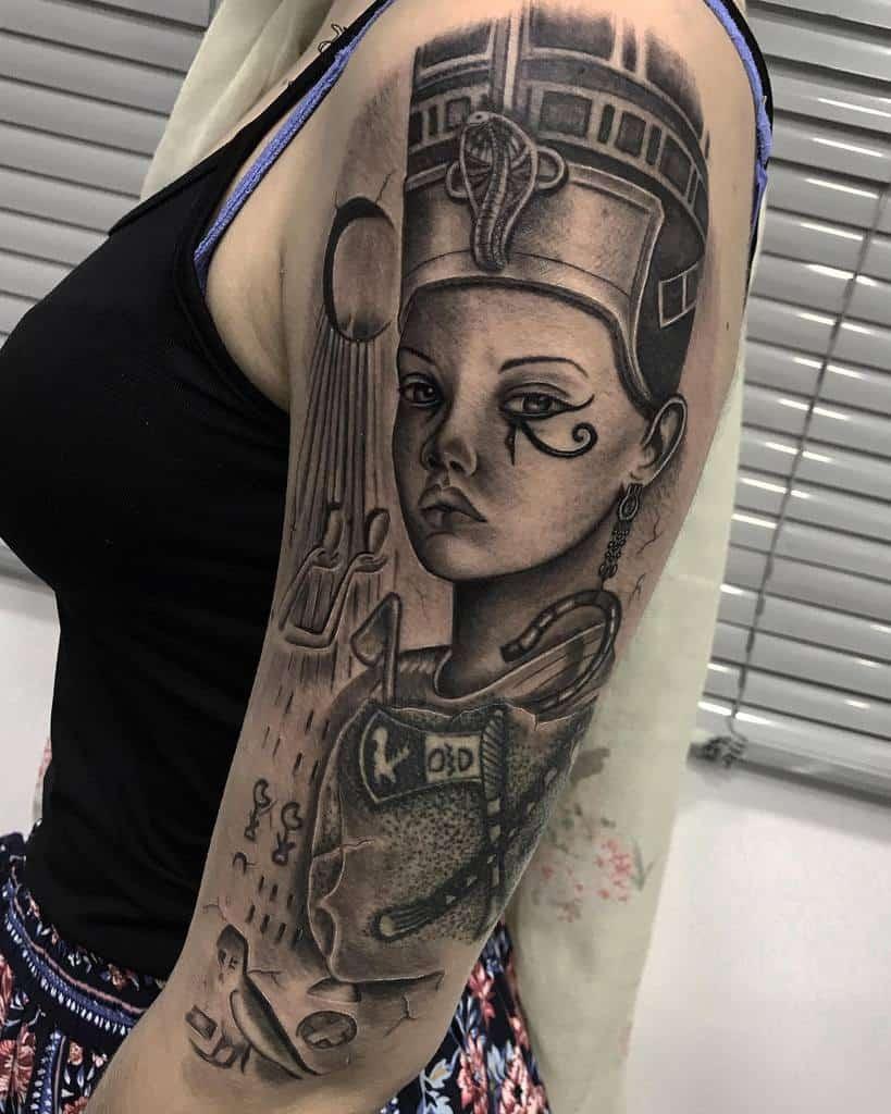 Shaded Nefertiti Tattoos Ipsumtattoo