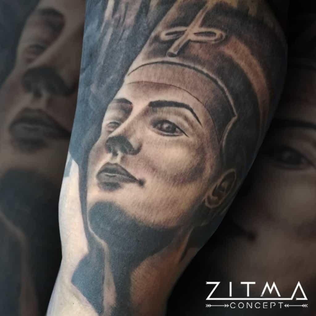 Shaded Nefertiti Tattoos Zitmaconcept