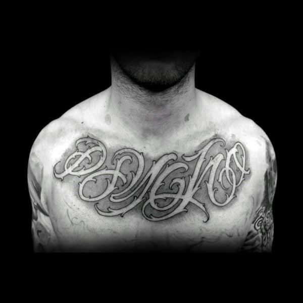 Shaded Negative Space Male Script Chest Tattoo Design