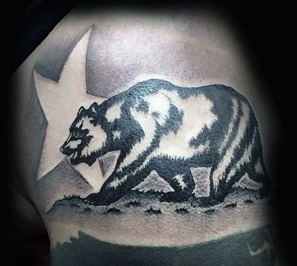 Shaded Negative Space Star California Bear Mens Upper Arm Tattoos