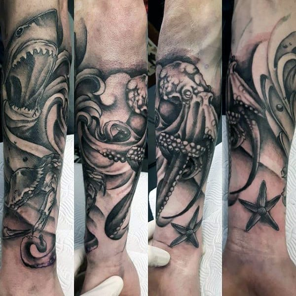 Shaded Octopus And Crab Mens Forearm Sleeve Tattoos