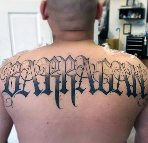 Shaded Old English Male Upper Back Tattoo