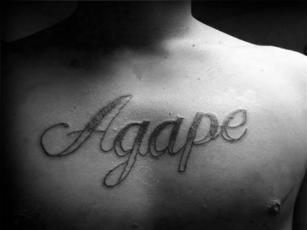 Shaded Old School Agape Male Chest Tattoo