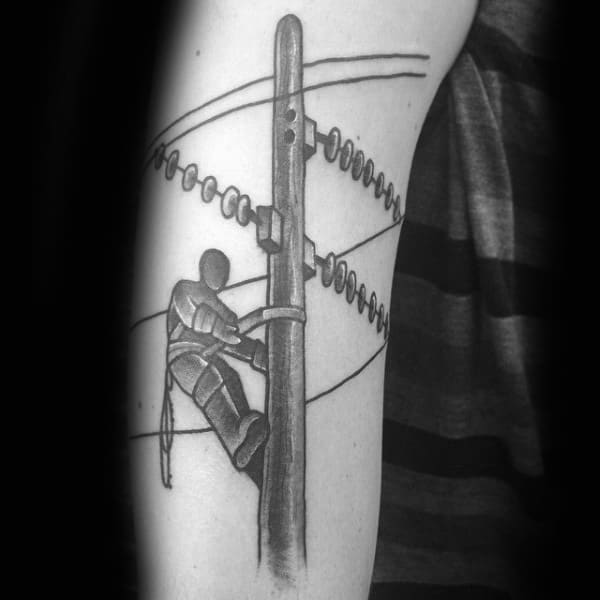 Shaded Old School Lineman Male Tattoo On Arm