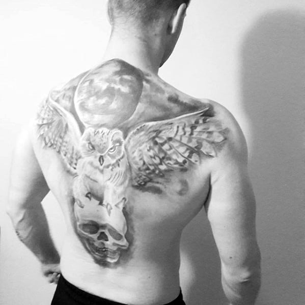 Shaded Owl Flying With Skull Under Moon Mens Back Tattoo