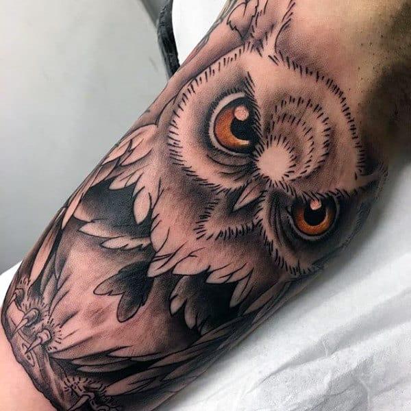 Shaded Owl Inner Arm Tattoos For Men