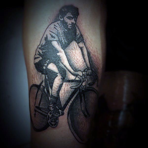 Shaded Pencil Art Bicycle Tattoo On Legs For Men
