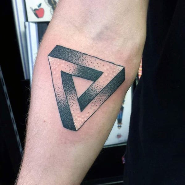 Shaded Penrose Triangle Tattoo On Arms For Men