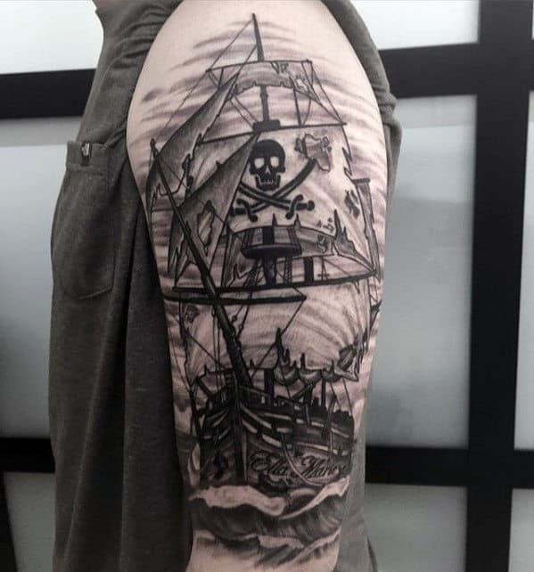 Shaded Pirate Flag Sailing Ship Guys Arm Tattoo Designs