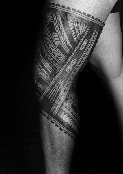 Shaded Polynesian Male Tribal Tattoos