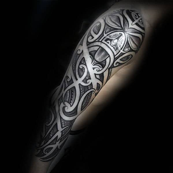 Shaded Polynesian Tribal Negative Space Sleeve Tattoos For Men