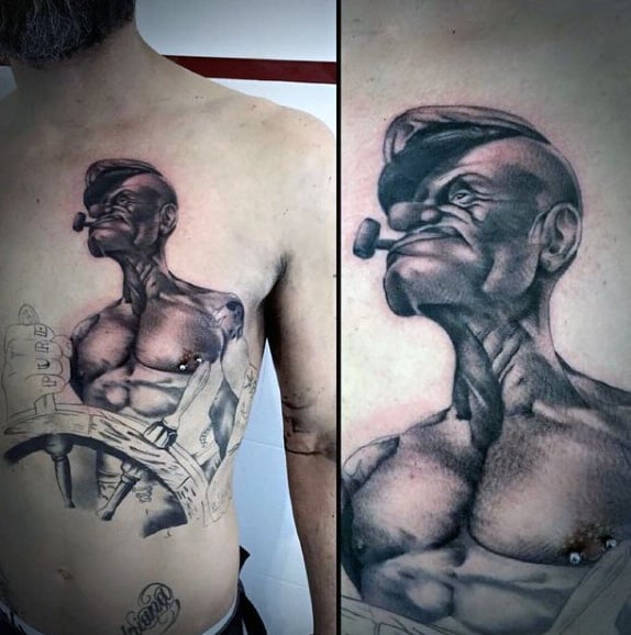 Shaded Popeye Ship Wheel Mens Chest Tattoos