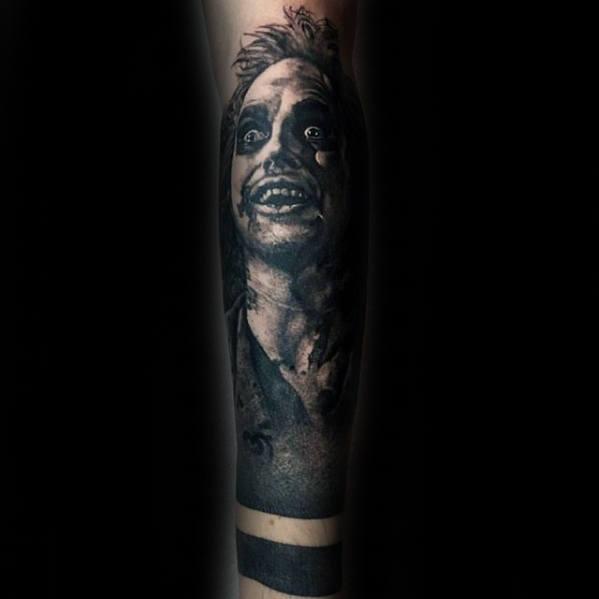 Shaded Portrait Of Beetlejuice Mens Arm Sleeve Tattoo Designs