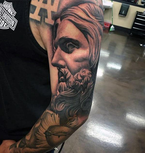 Shaded Portrait Of Jesus Full Sleeve Tattoo Designs For Gentlemen