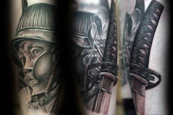 Shaded Portrait With Katana Mens Arm Tattoos
