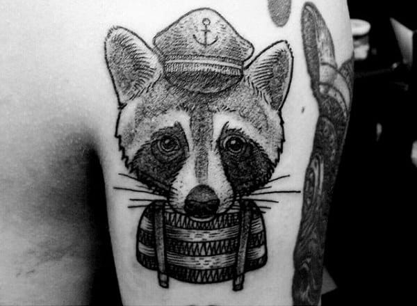 Shaded Raccoon Sailor Upper Arm Tattoos For Guys