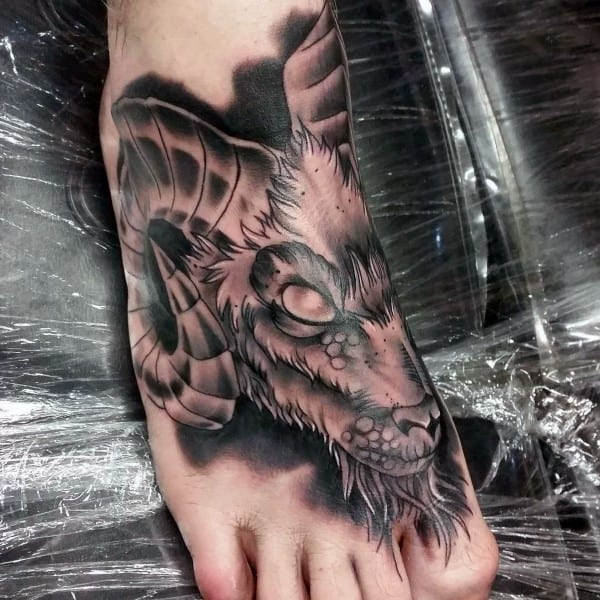 Shaded Ram Foot Tattoo On Guy