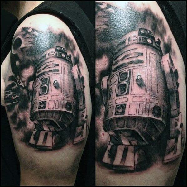 Shaded Rd2d Mens Upper Arm Tattoo Designs