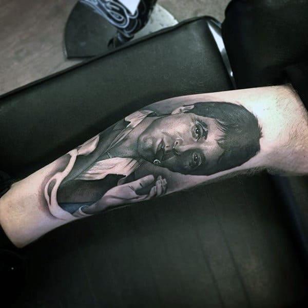 Shaded Realistic 3d Scarface Portrait Mens Leg Tattoo