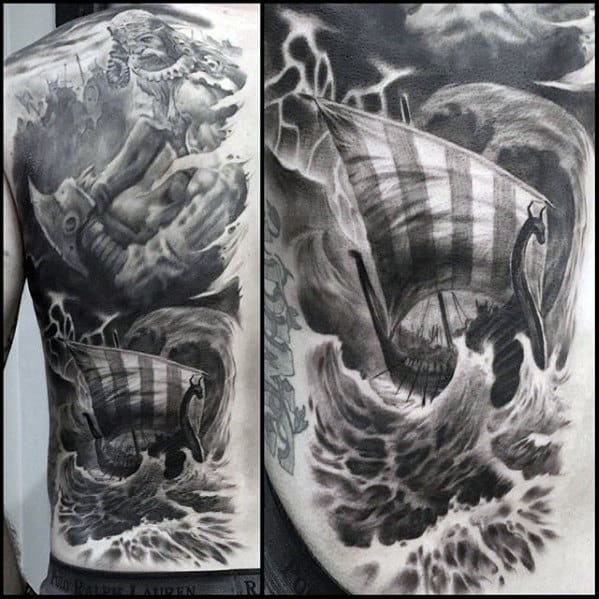 Shaded Realistic 3d Viking Ship Guys Cool Back Tattoos