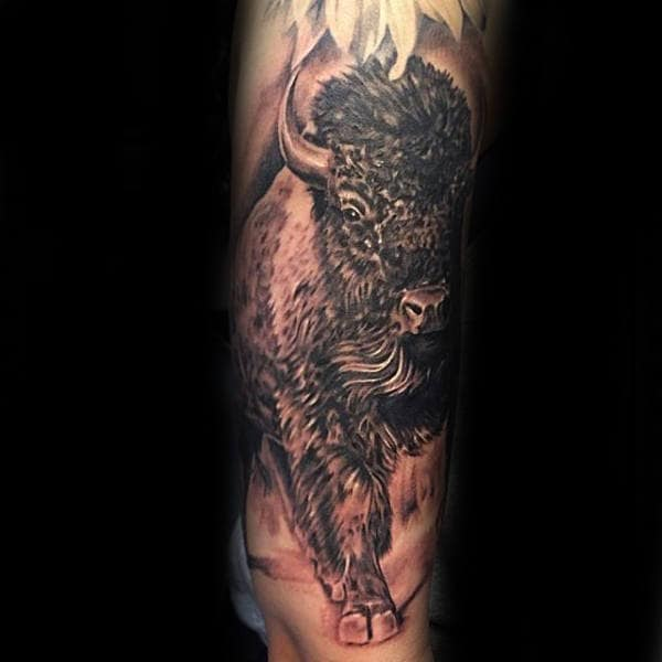 Shaded Realistic Bison Guys Arm Tattoos