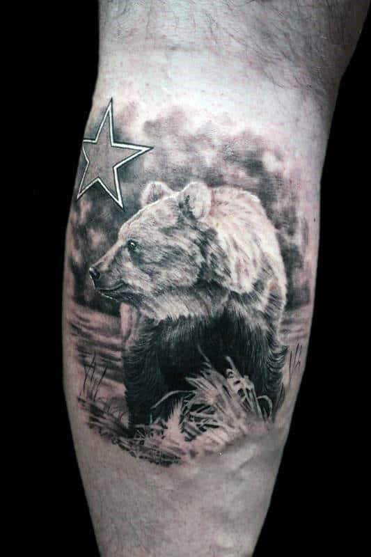 Shaded Realistic Black And Grey Ink California Bear Mens Leg Calf Tattoos