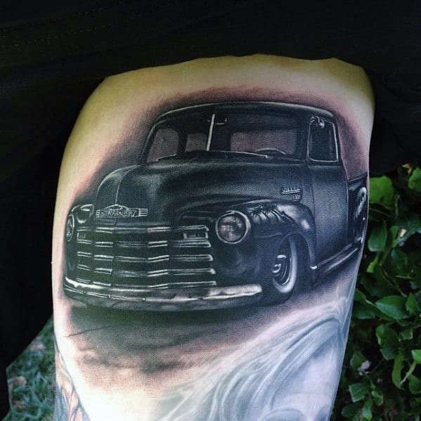 Shaded Realistic Chevy Truck Guys Thigh Tattoos