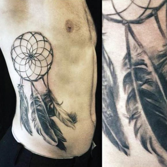 Shaded Realistic Dreamcatcher Tattoo Design On Male