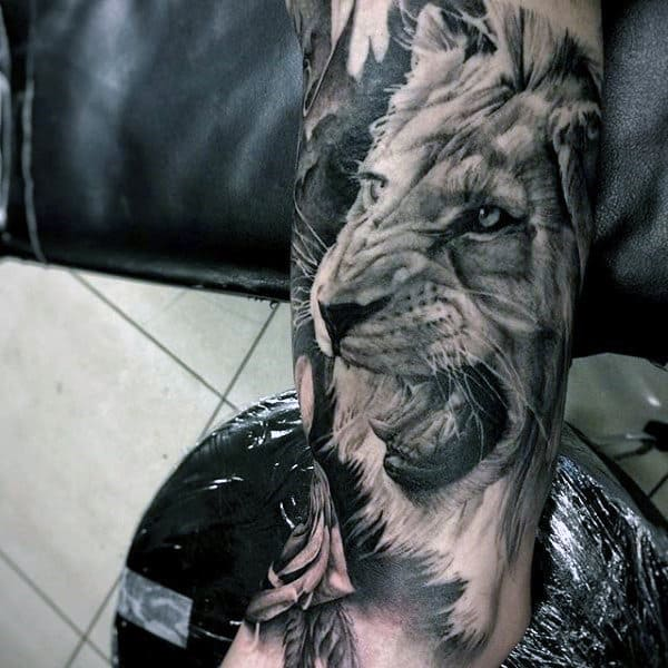 Shaded Realistic Guys Lion Sleeve Tattoos