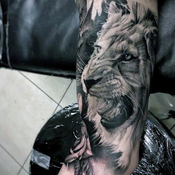 Shaded Realistic Guys Lion Sleeve Tattoos