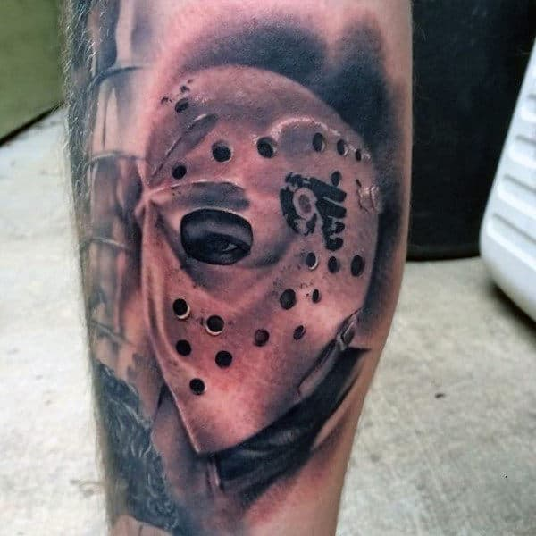 Shaded Realistic Hockey Mask Mens Leg Tattoo Ideas