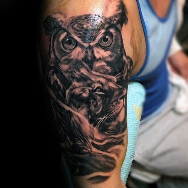 Shaded Realistic Male Tattoo Design On Arm