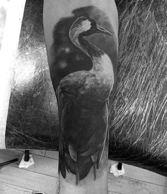 Shaded Realistic Mens Crane Tattoo On Forearm