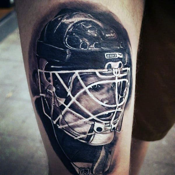 Shaded Realistic Mens Hockey Helmet Thigh Tattoos