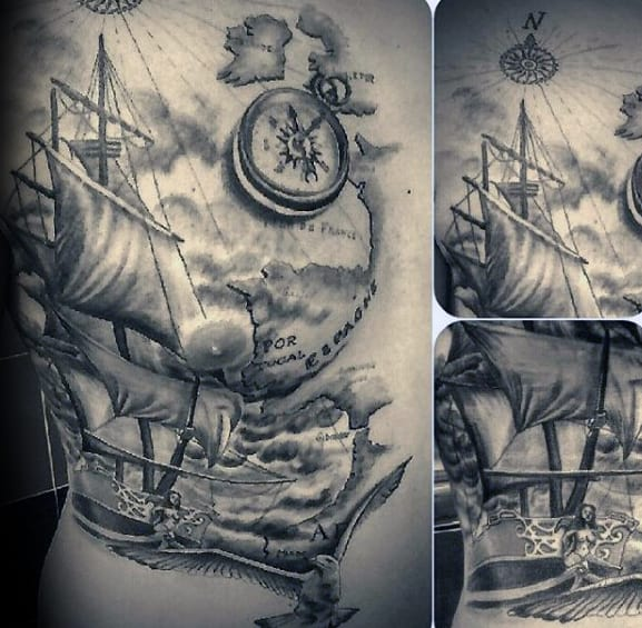 Shaded Realistic Mens Sailing Ship With Seagull Chest Tattoos