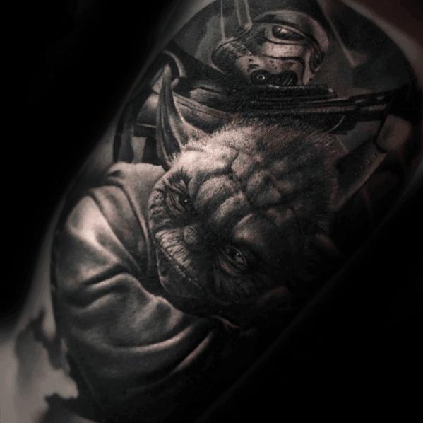 Shaded Realistic Mens Yoda Star Ware Arm Tattoo