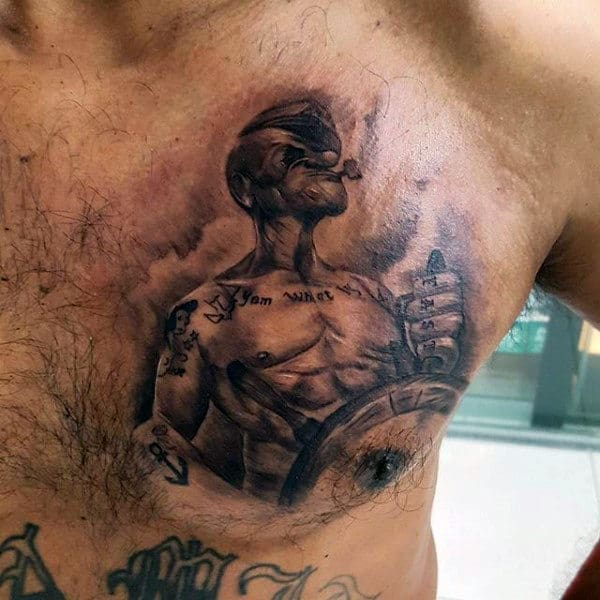 Shaded Realistic Popeye Mens Upper Chest Tattoo Design Inspiration