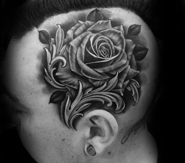 Shaded Realistic Rose Mens Head Tattoos