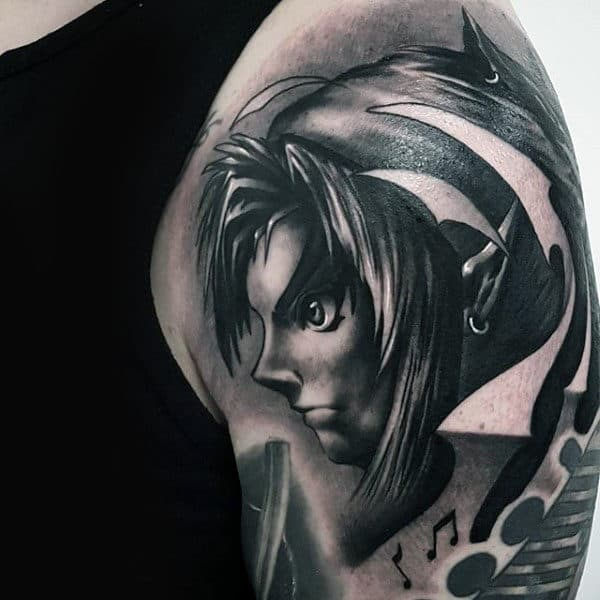Shaded Realistic Upper Arm Male Zelda Tattoos