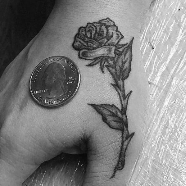 Shaded Rose Flower Small Guys Hand Tattoos
