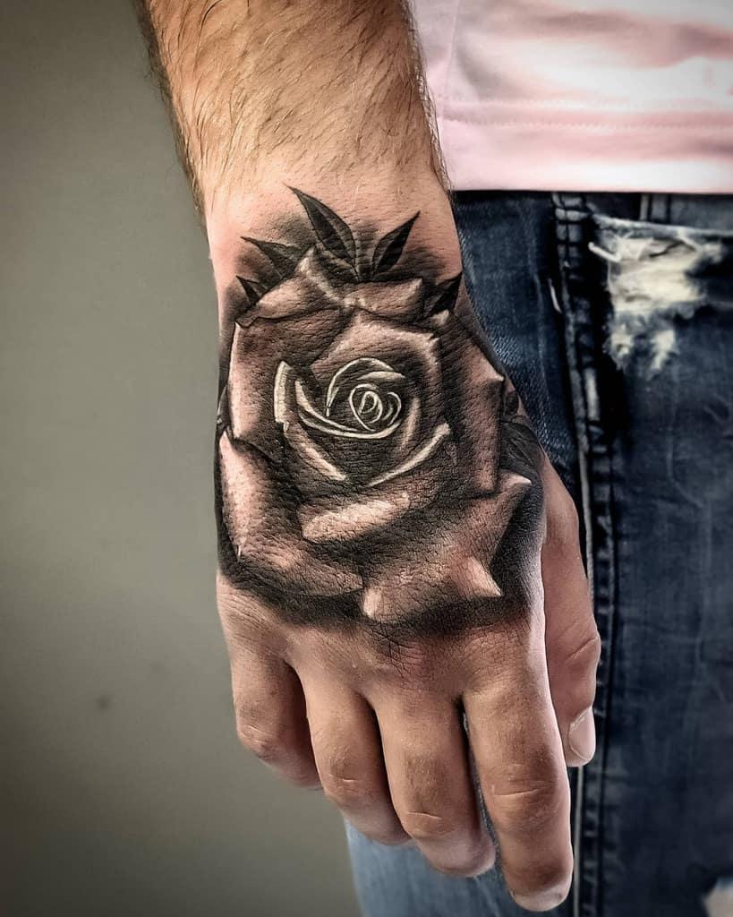 shaded rose hand tattoos aleks_tattoos