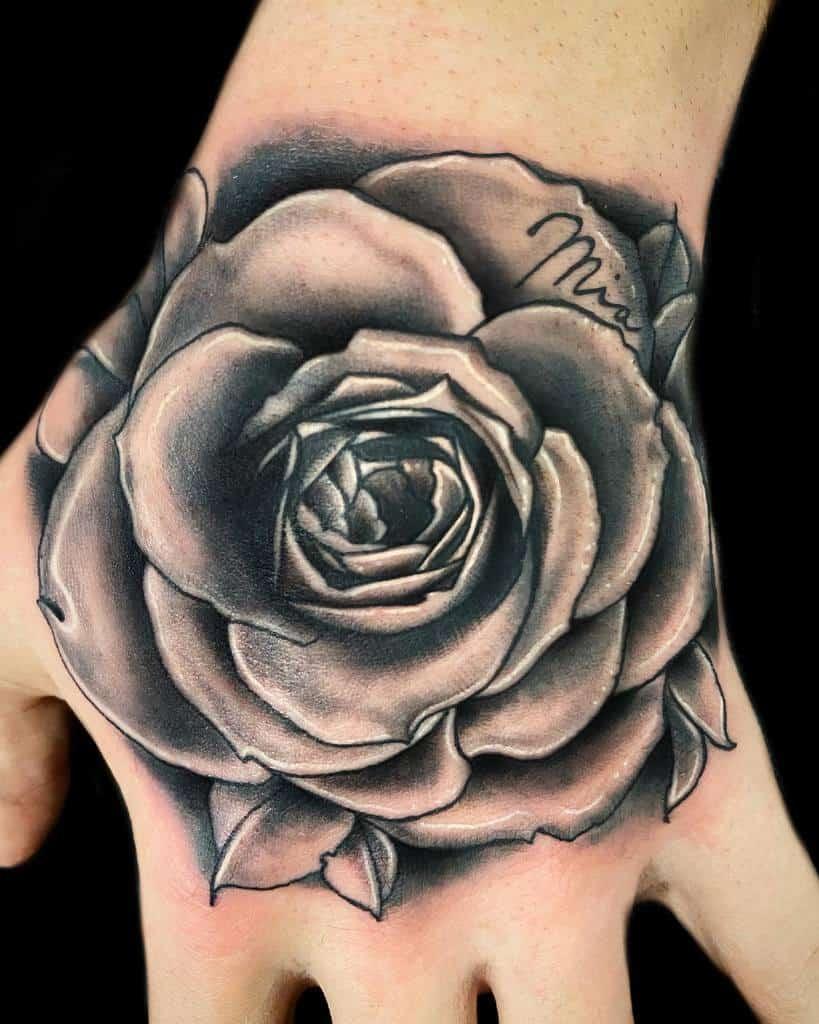 shaded rose hand tattoos giokay